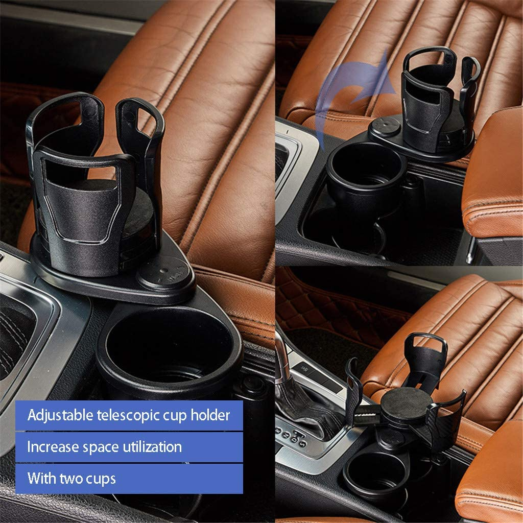 Vehicle-Mounted Water Cup Drink Holder Universal Car 2 in 1 Dual Cup Mount Extender Organizer 360/°Rotating Adjustable Base Coffee Drinks Bottles Storage Rack A Multifunctional car Cup Holder