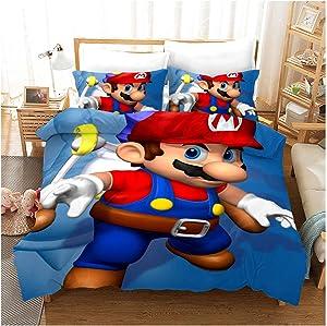 Supermario Bros Kids Soft Bedding Sheets Set Super Mario 3 Piece Twin Size (G, 228x228cm (3 pcs))