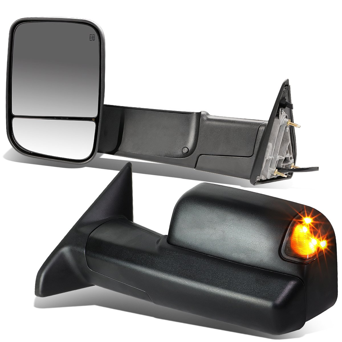 DNA motoring TWM-013-T888-BK-SM Pair of Towing Side Mirrors, Driver and Passenger Sides