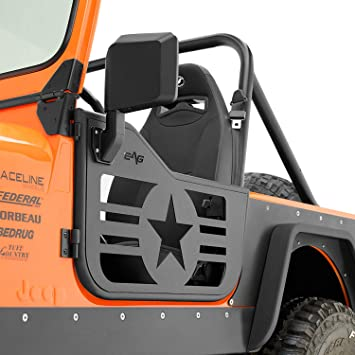 E Autogrilles Eag Military Star 2 Tubular Doors With Side View Mirrors 76 96 Jeep Wrangler Cj7 Yj Amazon Co Uk Car Motorbike