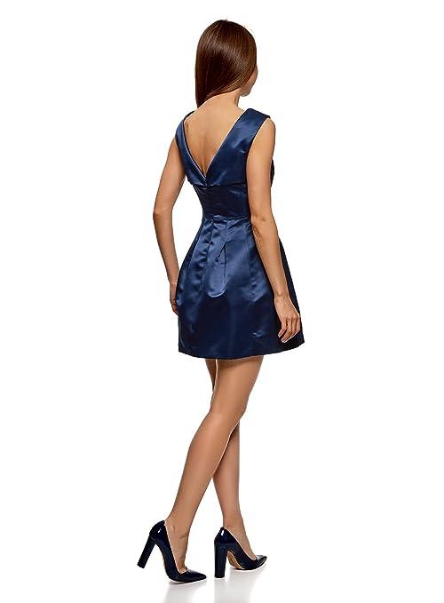 oodji Ultra Mujer Vestido Ajustado con Escote en V en la Espalda: Amazon.es: Ropa y accesorios