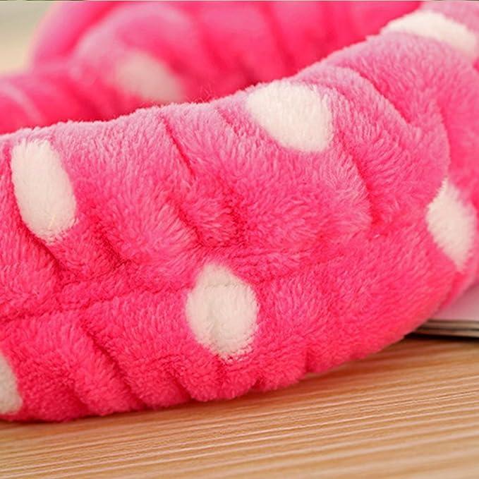Jooks Mujer Lavado elástica Lazo Cabeza Toalla de baño Toalla Moda Coral Fleece Bowknot Hairlace para Maquillaje cosméticos Suave Diadema (Rosa): Amazon.es: ...