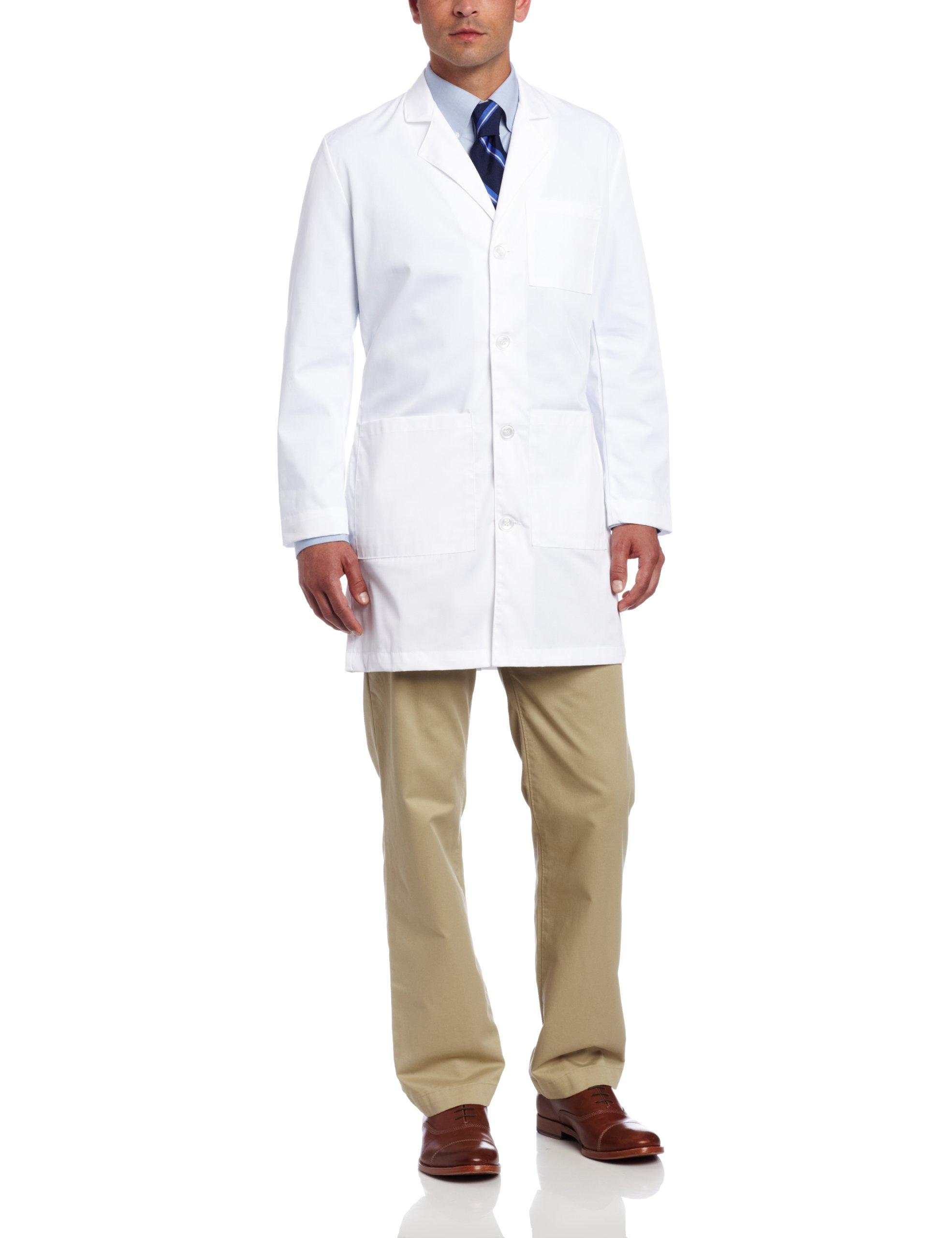 Landau Men's Four Button Scrub Lab Coat, White WWVC, 38