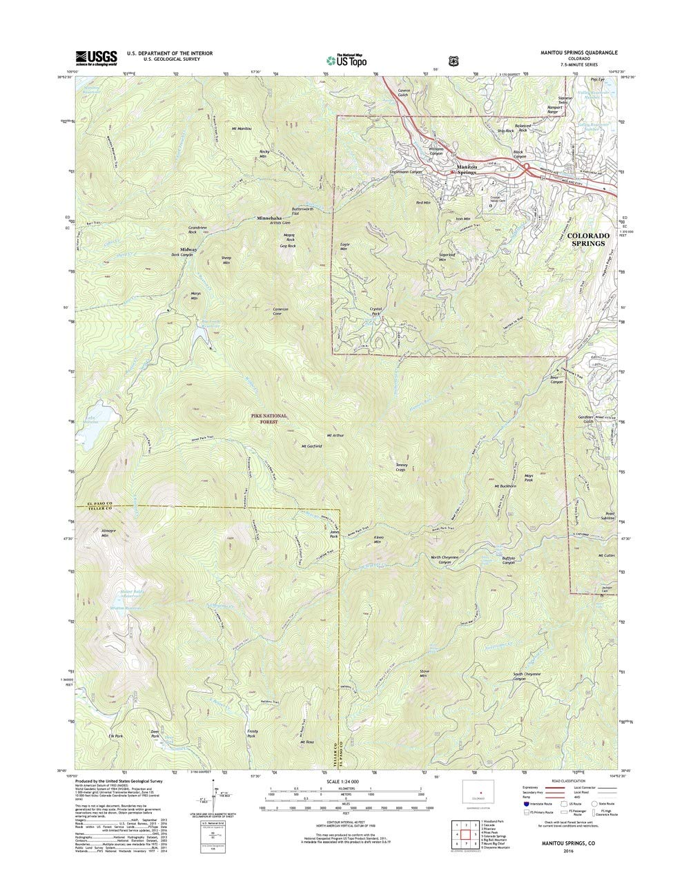 Amazon Com Patriotgearcompany Framed Topo Map Manitou Springs