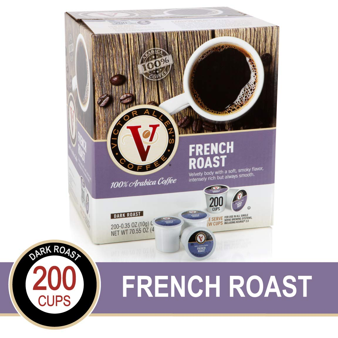 French Roast for K-Cup Keurig 2.0 Brewers, Victor Allen's Coffee Medium Roast Single Serve Coffee Pods, 200 Count by Victor Allen