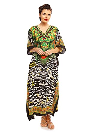 cac005312c5 Looking Glam New Ladies Oversized Maxi Kimono Kaftan Tunic Kaftan Dress  Free Size (10-