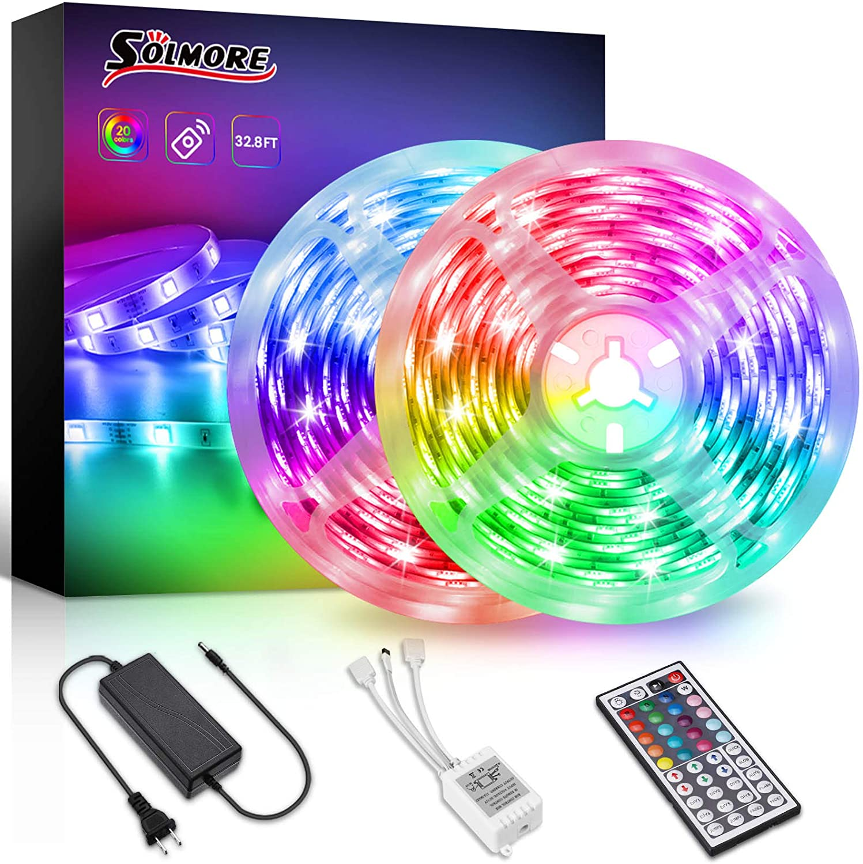 LED STRIP LIGHTS 5M-10M 5050 RGB COLOUR CHANGING UNDER CABINET KITCHEN LIGHTING