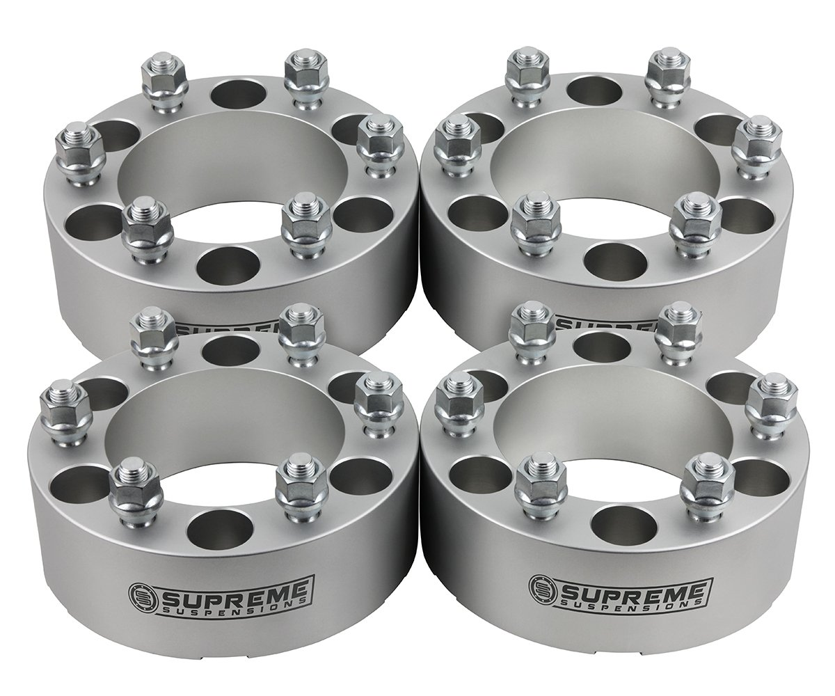 Supreme Suspensions - (4pc) 1999-2018 Chevy Silverado 1500 2'' Wheel Spacers 6x5.5 (6x139.7mm) with M14x1.5 Studs [Silver]