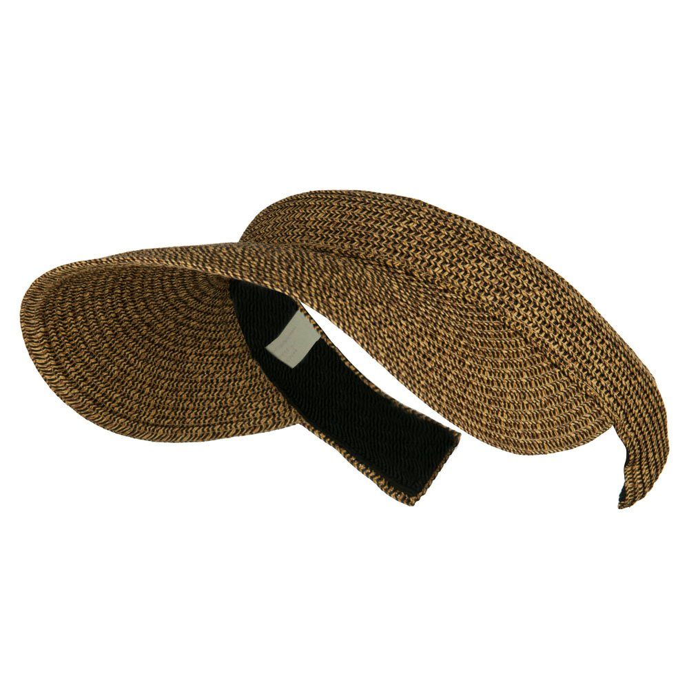UPF 50+ Paper Braid Clip On Visor - Brown Black OSFM by Jeanne Simmons