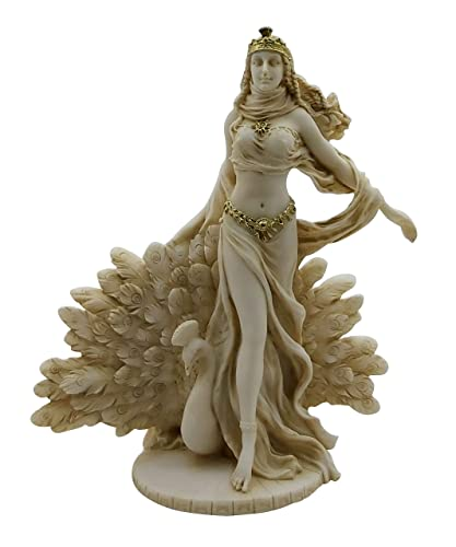 Hera Greek Goddess Queen of Gods with Peacock Statue Sculpture 9.65