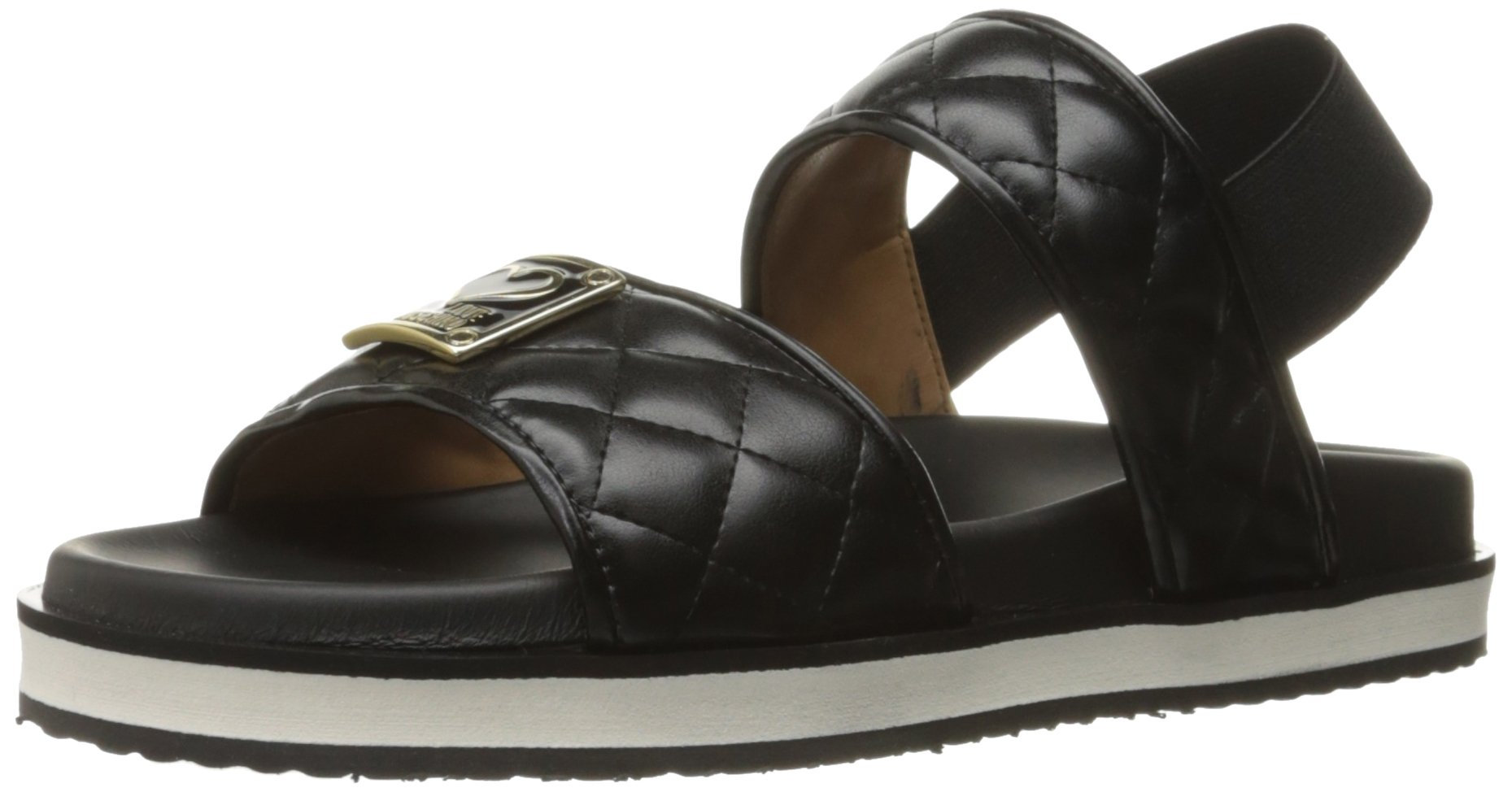 Love Moschino Women's Superquilted Flat Sandal, Black, 39 EU/9 M US