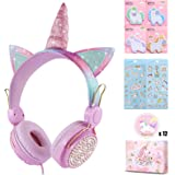 Charlxee Kids Headphones with Microphone for School,Giant Unicorn Gifts for Girls Children Birthday,On Over Ear Wired Headset