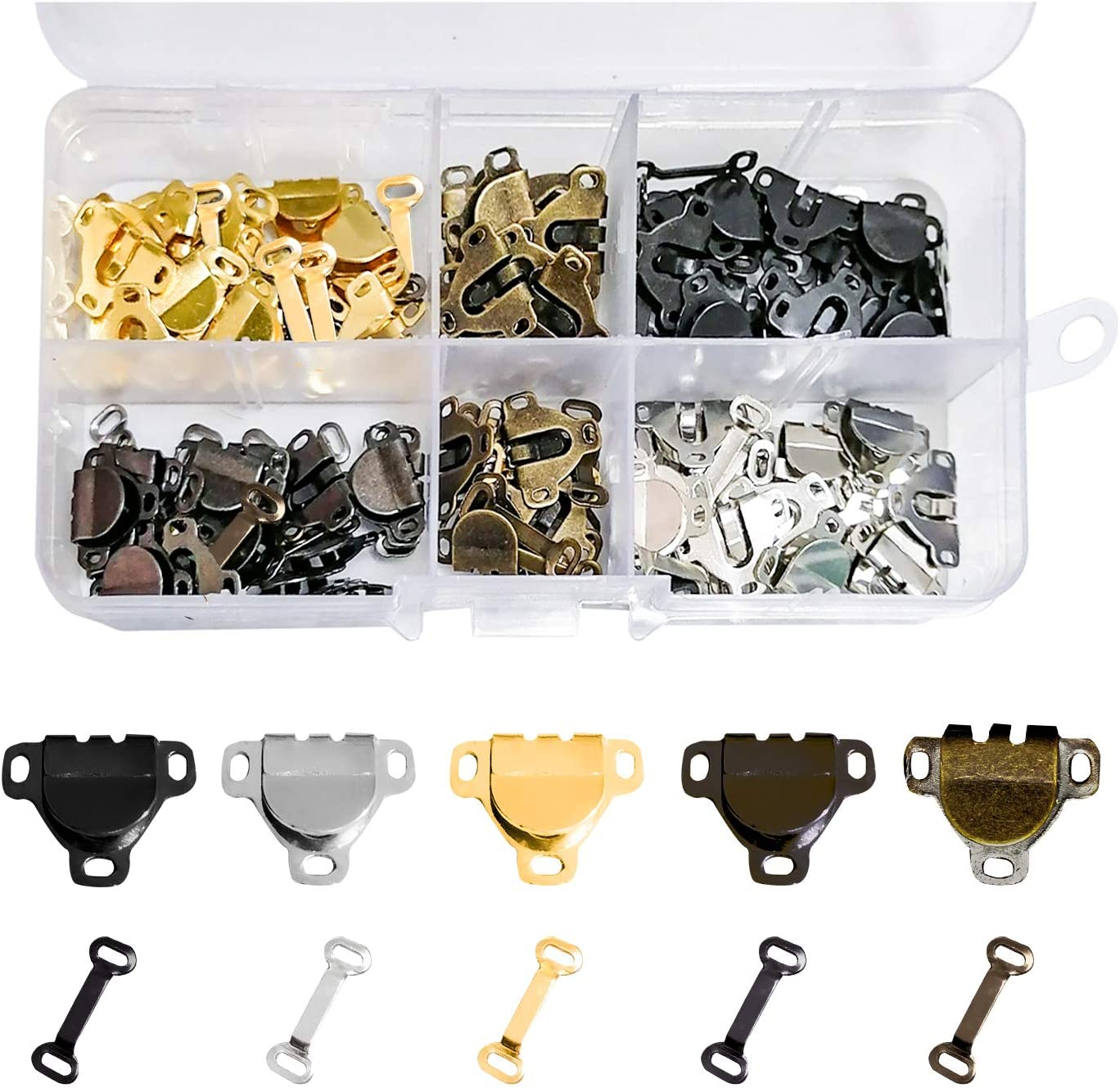 Eye Closure Replacement with box for Trousers Skirt Dress Bra Sewing DIY Craft 5 Colors Witlans 75 Pairs Sewing Hooks and Eyes Closure Set