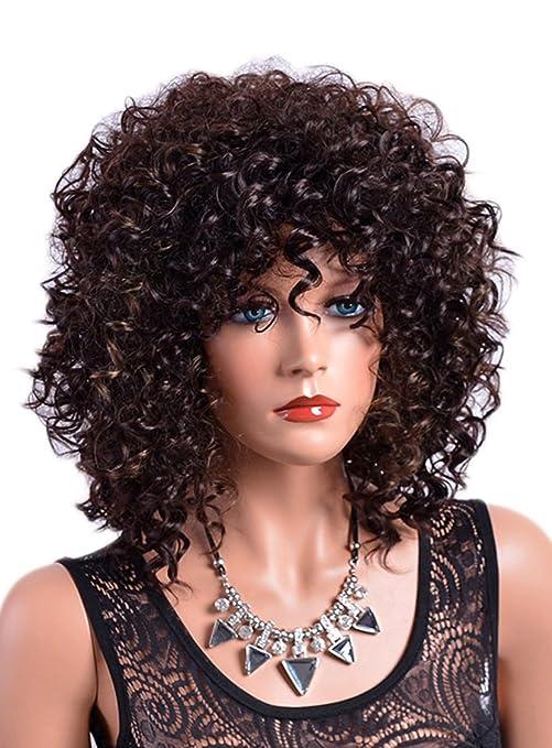 "CLOCOLOR 16"" Peluca sintética para mujer de pelo corto rizado afro para fiestas de moda"