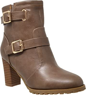 Generation Y Womens Ankle Boots Adjustable Gold Buckle Strap Stacked Chunky Heel Booties GY-ADA-20