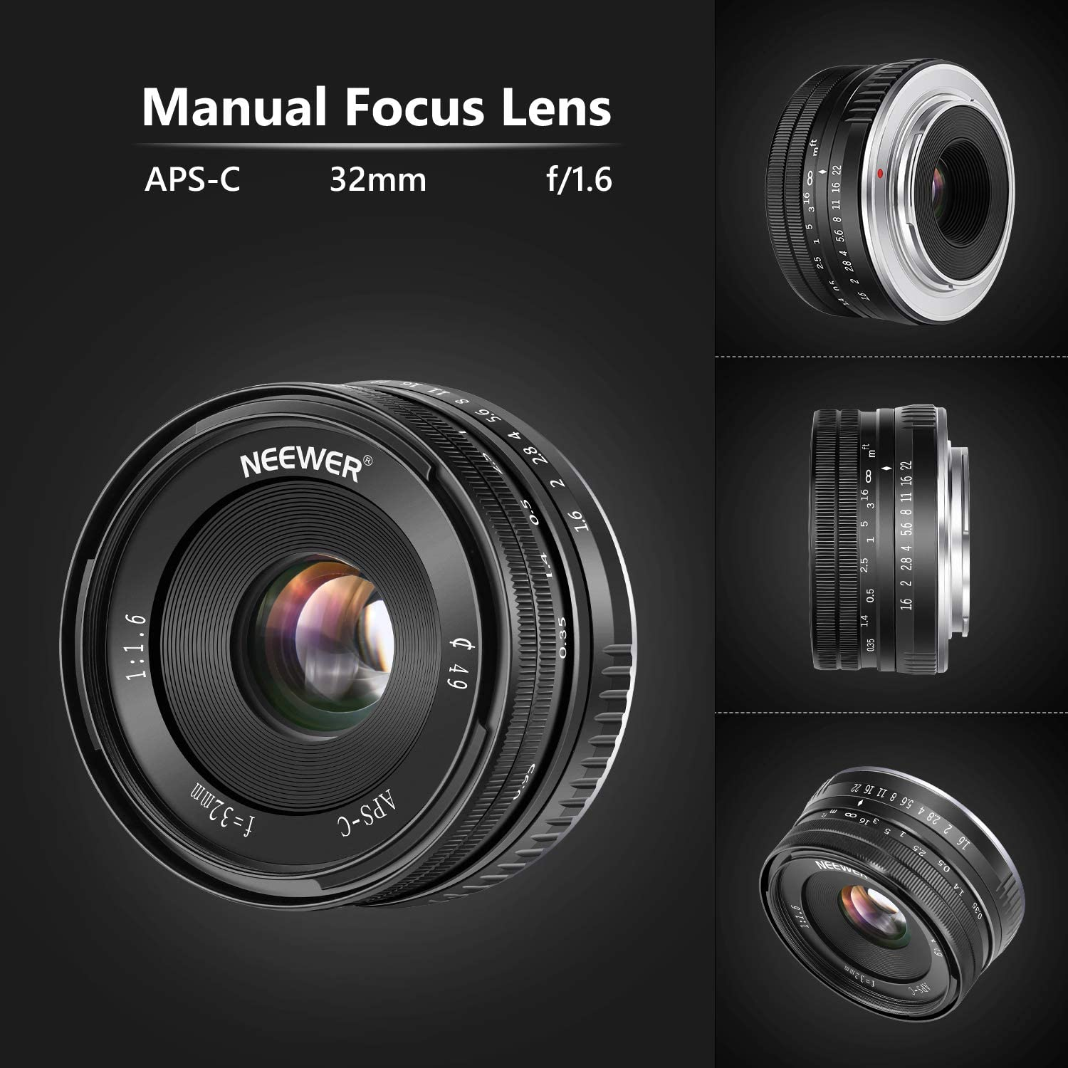 Neewer 32mm F//1.6 Manual Focus Prime Fixed Lens Large Aperture Wide Angle Lens Compatible with Fujifilm APS-C Frame Mirrorless Camera X-T1 X-T2 X-Pro1 X-Pro2 X-M1 X-T10 X-A1 X-A2 X-A3 X-E1 X-E2 X-E3