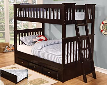 Amazon Com Twin Over Twin Bunk Bed With Trundle Desk Hutch And