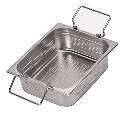 Paderno World Cuisine 12 1//2 inches by 10 1//2 inches Stainless-steel Perforated Hotel Pan with Folding Handles 1//2 depth: 4 inches