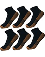 6 Pairs Copper Antibacterial Athletic Ankle Sport Socks For Men and Women