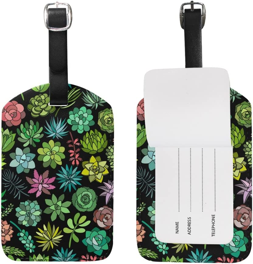 Chen Miranda Succulent Plant Luggage Tag PU Leather Travel Suitcase Label ID Tag Baggage claim tag for Trolley case Kids Bag 1 Piece