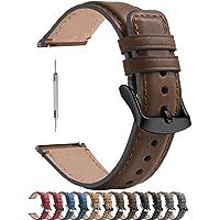 Fullmosa 6 kleuren gepolijste horlogeband 18mm, leren armband YOLA met D-vormige gesp voor dames en heren, 18mm…