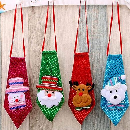 Kawosh 4 Piezas Corbatas de Lentejuelas navideñas Papá Noel muñeco ...