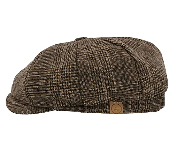 The Hat Company  Leo  Bakerboy Brown Check Wool Blend Cap (Small Medium  58cm)  Amazon.co.uk  Clothing 030bda03411a