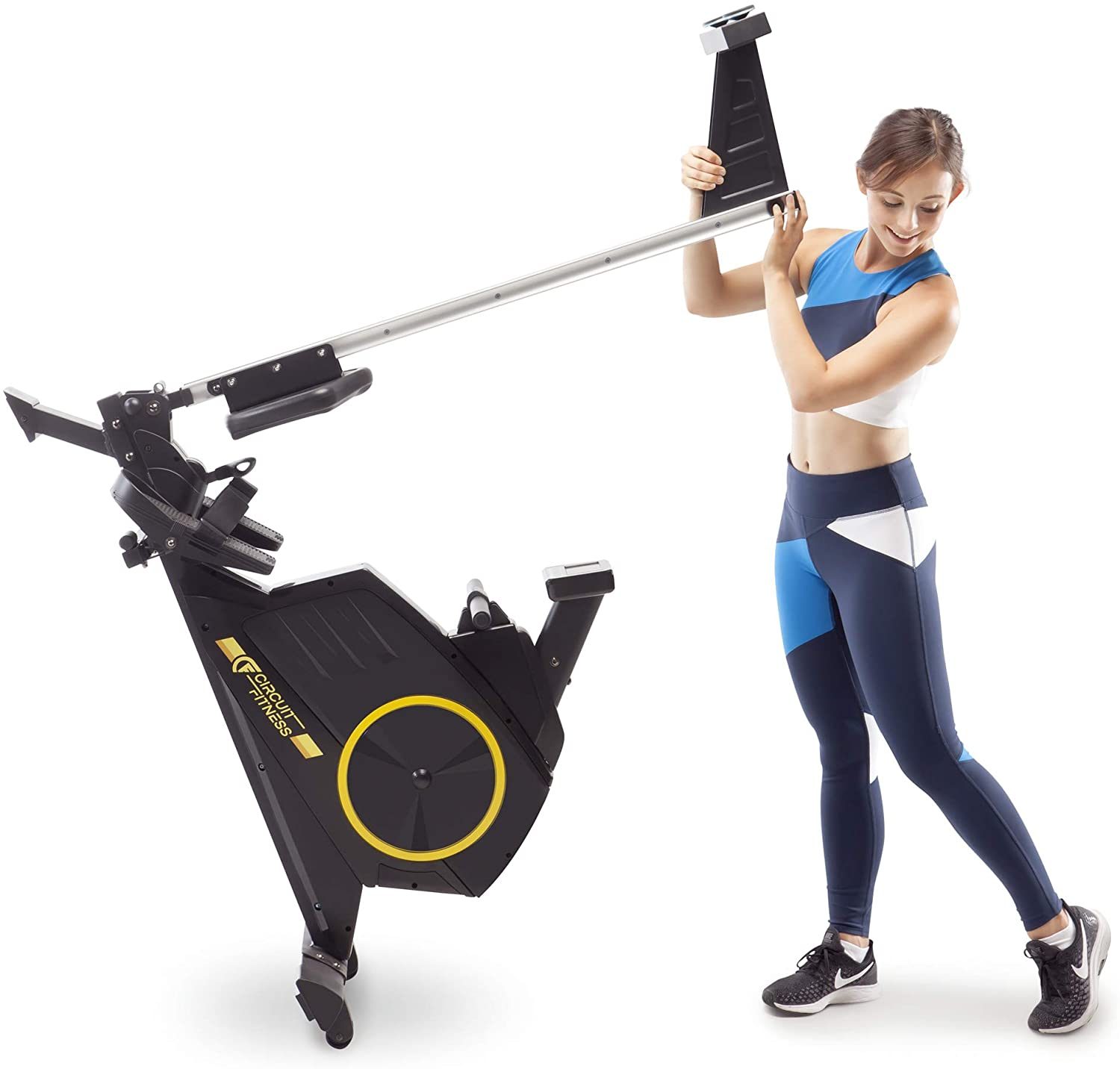 Circuit Fitness Deluxe Foldable Magnetic Rowing Machine - Folding to store the equipment