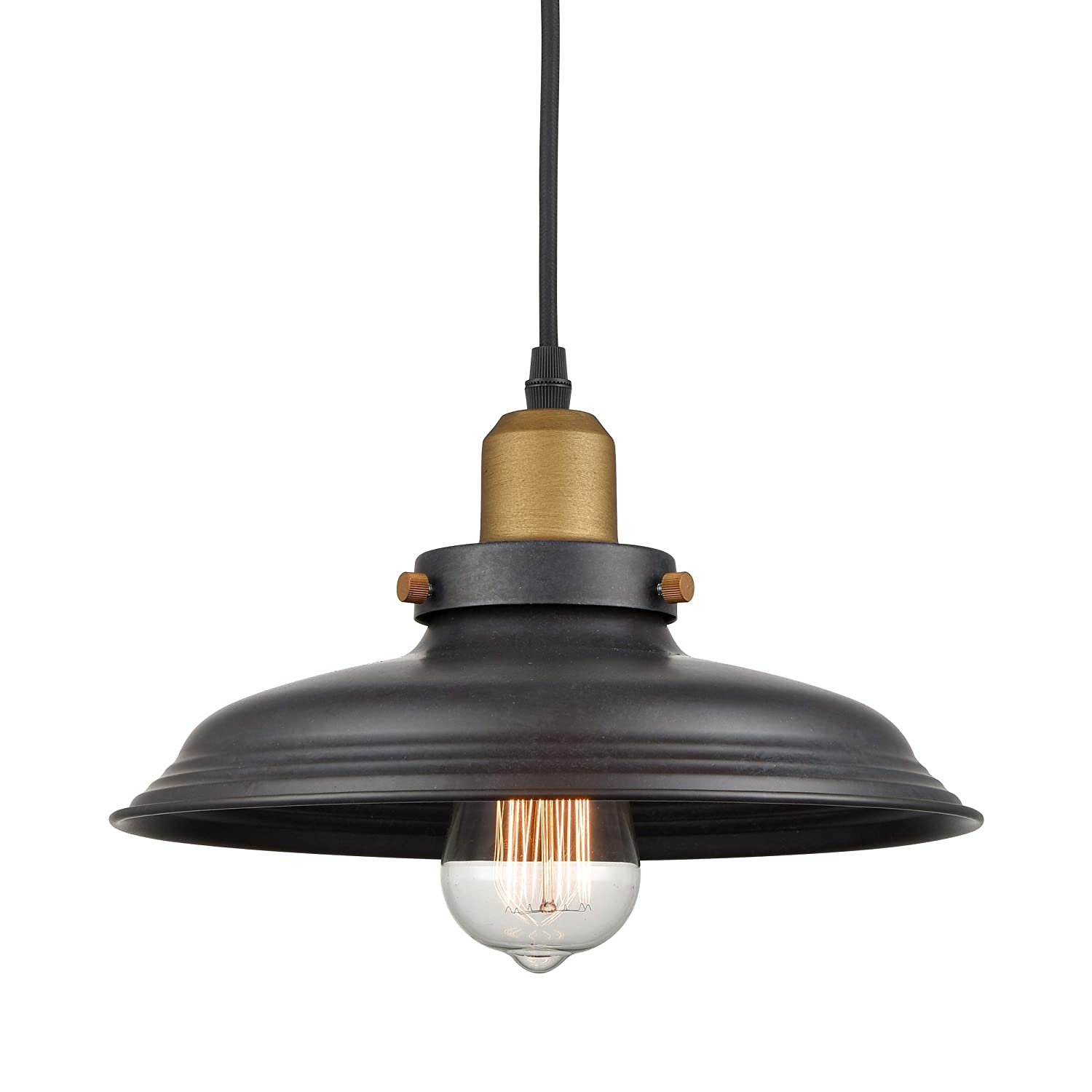 Wildsoul 20031-TG Vintage Barn Metal Pendant Light, Farmhouse Industrial-Style Light Fixture, Graphite Finish