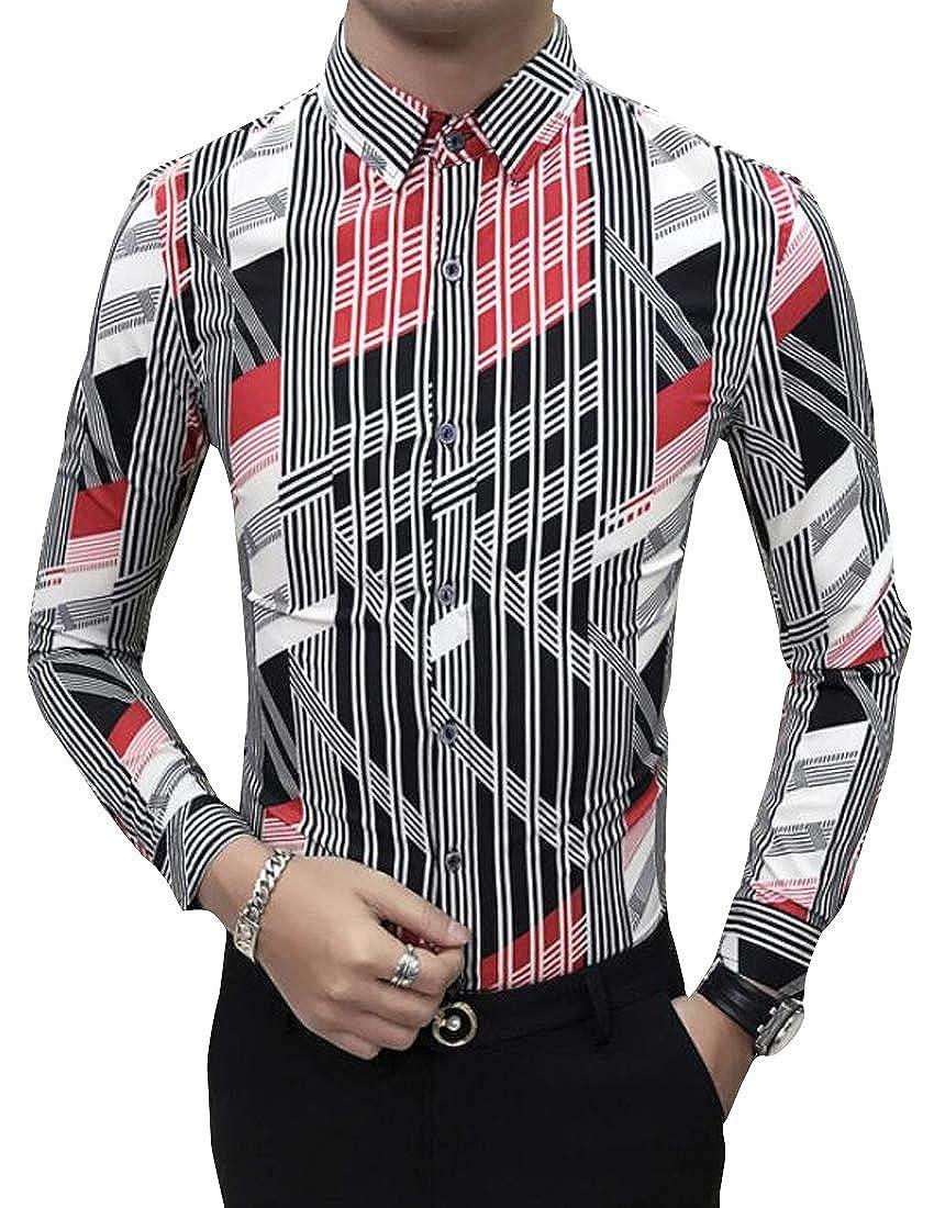 Jotebriyo Mens Slim Long Sleeve Floral Print Nightclub Vogue Button Down Shirts