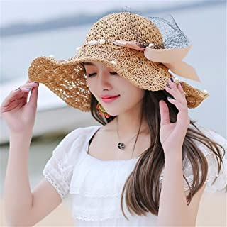 Womens UPF 50+Straw Hat, Beach Hat, Summer Straw, Sun Helmet, Sun Hat, Sunshade Hat, Folding Hat, Hat, Hat, Hat, etc,Beige