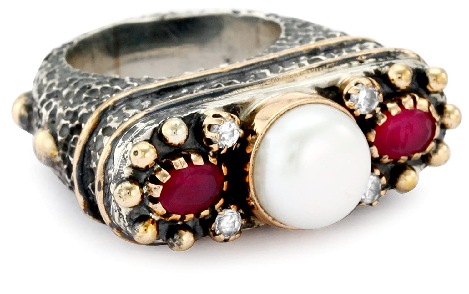 Amazoncom BORA Pearl and Ruby Ring Size 7 Jewelry