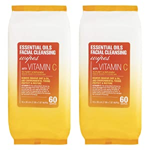 Essential Oils - 2 Pack (60 Count Each) Vitamin C Facial Cleansing Wipes