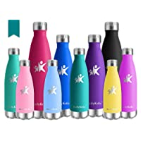KollyKolla Metal Water Bottle Vacuum Insulated Water Bottles Hot & Cold Drinks Bottle Stainless Steel Thermos Flask Leakproof Kids for Sports Gym, Cycling, Football, Travel, 350ml/500ml/650ml/750ml