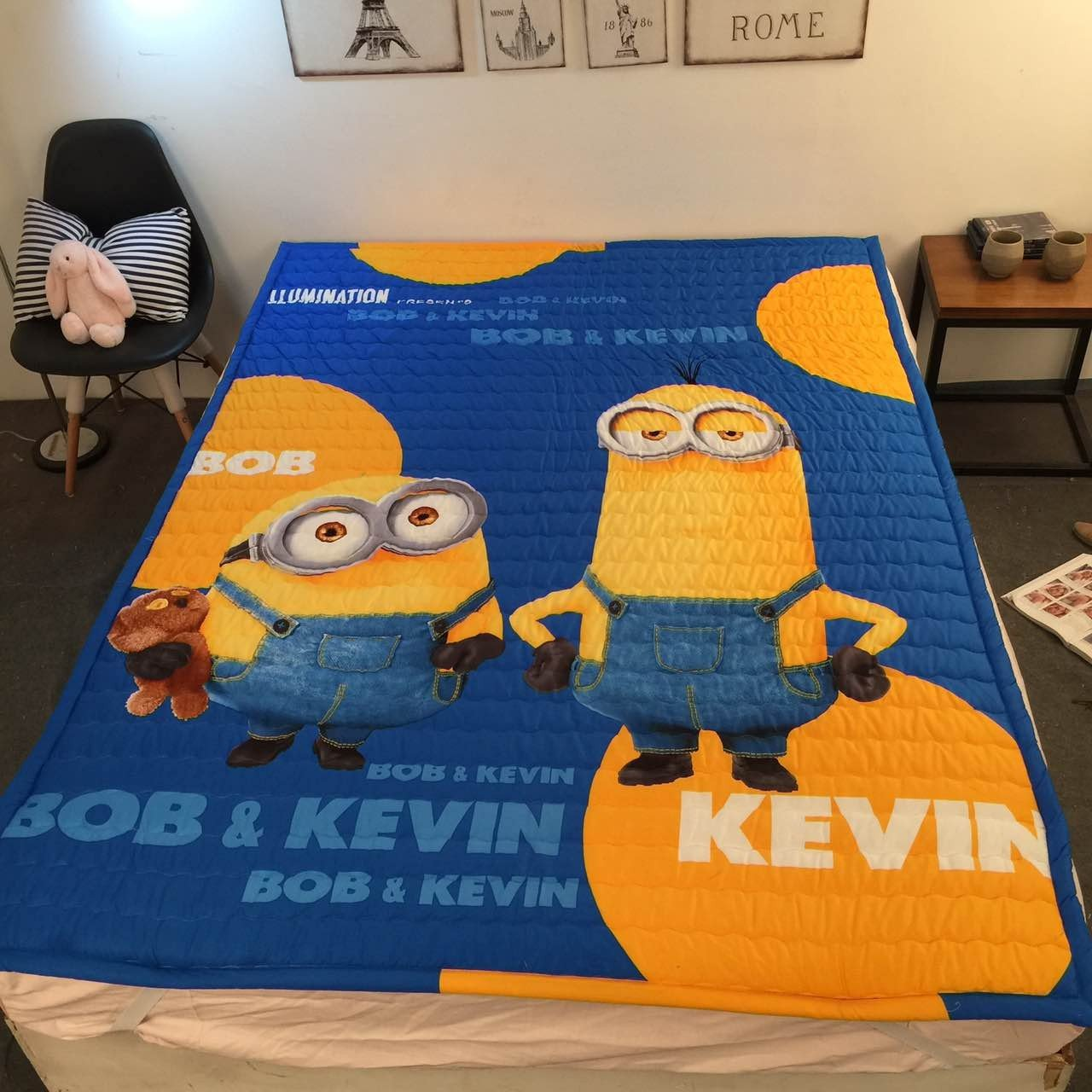 amazoncom minion rug for kids room child minion play mat despicable me room area rug carpet 47 ftx63 ft kitchen dining - Kids Bedroom Mats