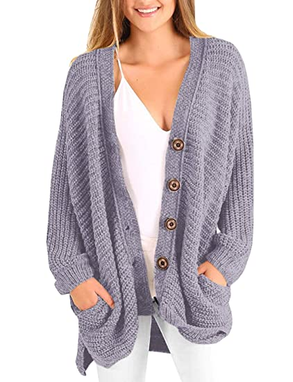 2e383d97aae Imysty Womens Winter Oversized Sweater Cardigans Button Down Ribbed Knit  Loose Fit Long Sleeve Coat with Pockets