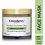 Greenberry Organics Brazilian Rainforest Green Clay Mask | Skin Healer and Natural Astringent | Normal to Oily Skin (100 GMS)