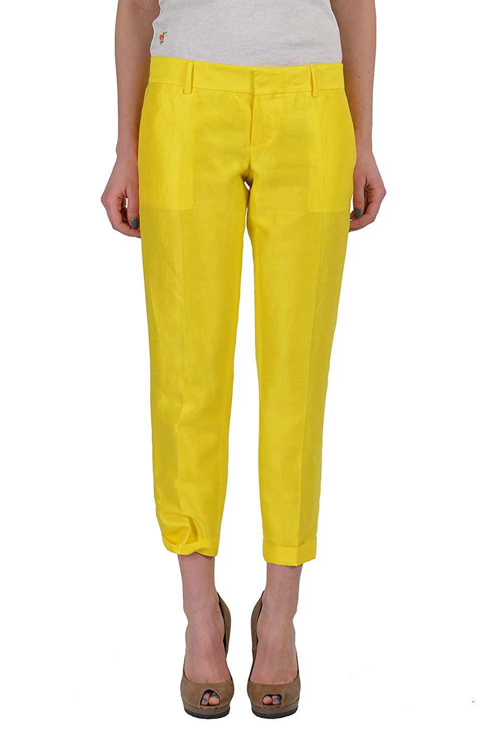 Dsquared2 Women's Yellow Silk Flat Front Cropped Pants US 4 IT 40