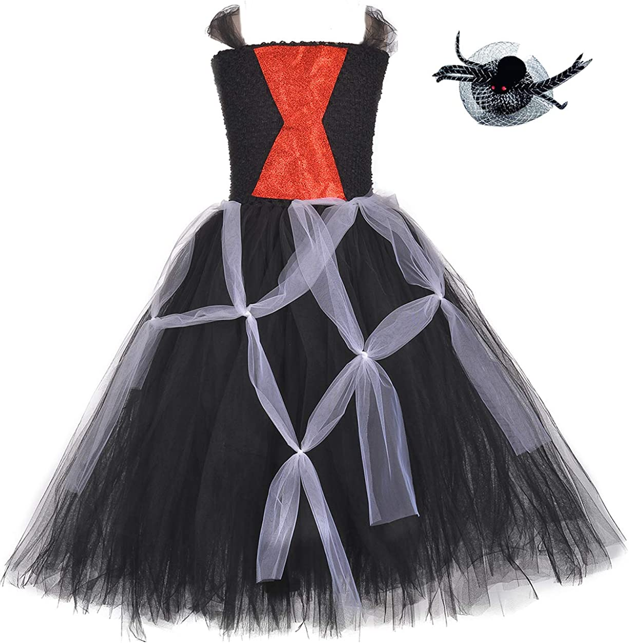 Tutu Dreams Halloween Spider Web Witch Tutu Costume for Girls 1-12Y Carnival Masquerade Party with Headwear