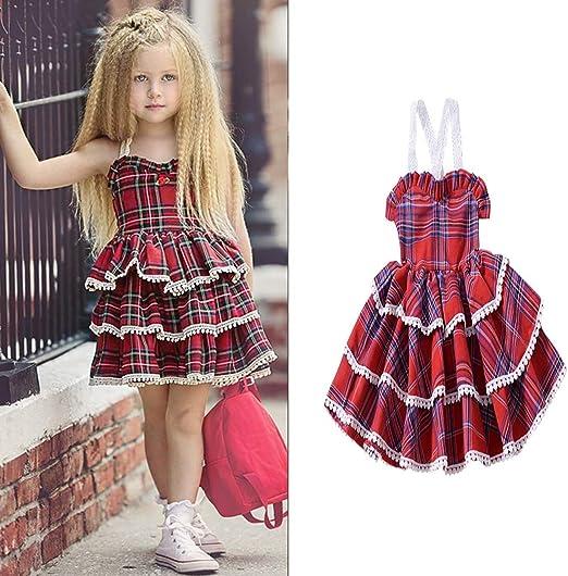 YYQX-4X Falda de Pastel de niña, Vestido de Correa de Encaje para ...
