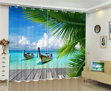 Chlwx Maldive Spiaggia Mare Finestra Oscuranti Luxury 3D Tende Per ...