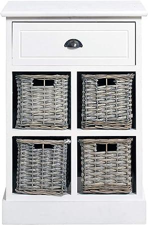 Cassettiere In Vimini E Legno.Rebecca Srl Cassettiera Mobile Cucina 5 Cassetto Urban Vimini
