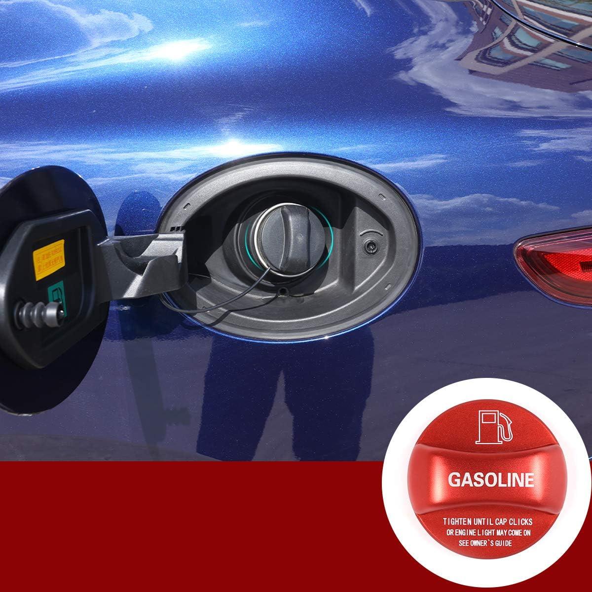 Aluminum Alloy Gas Fuel Tank Cap Cover Trim For Alfa Romeo Giulia Stelvio Accessories (Red)