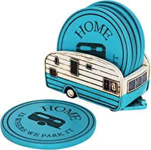 Campers Home Coaster Set - Home Is Where We Park It - Set Of 5 Soft Absorbent Coaster - Home RV Truck Round Drinking Coasters - Large Glass Coasters - Table Top Protection