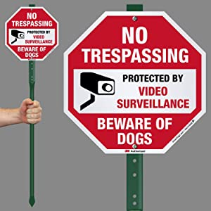 SmartSign Beware of Dog No Trespassing Sign, Protected by Video Surveillance Sign with Stake 3' Tall | 10 Inch Octagon Reflective Aluminum, Rust-Proof Metal Sign Stand Kit for Yard, Outdoor, Lawn