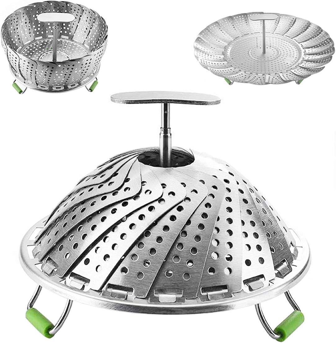 Steamer Basket Stainless Steel Veggie Steamer Basket for Cooking Folding Food Steamer Insert Steaming Basket Adjustable Expandable to fit Various Size Pot (7.1
