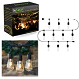 Outdoor Patio String Lights Weatherproof 20.5 Foot with 10 Hanging Sockets by InSassy – UL Listed Commercial Grade Wiring – Perfect for Deck, Party, Wedding and Cabana Lighting – ST40 Bulbs Included
