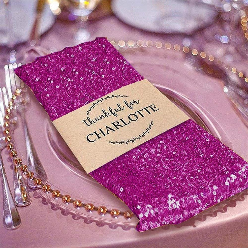 5 PCS 20x20 Premium Sequin Napkin for Table Decoration Fuchsia YSefa