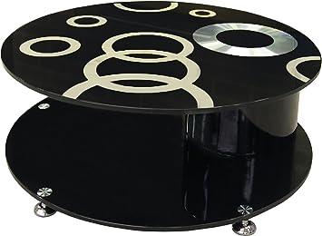 Table Basse Ronde Design En Verre Noir à Motifs Amazon Fr Cuisine