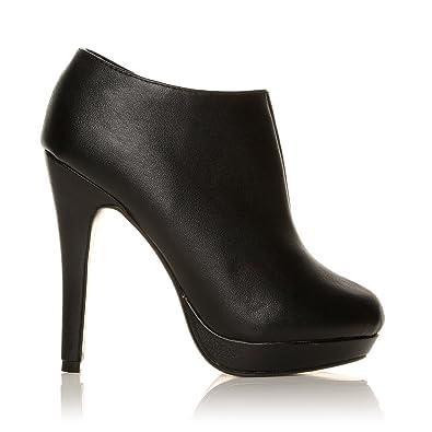 ShuWish UK - H20 Chaussure Bottine Femme Daim Synthétique Talon Aiguille  Très Haut - Cuir PU e3a97c56006b